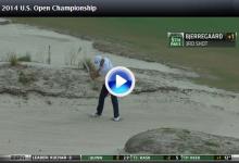 El danés Bjerregaard firmó el primer eagle del US Open desde uno de los famosos bunkers (VÍDEO)