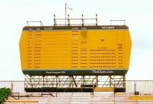 El famoso e icónico marcador amarillo del 18 ya está listo en Royal Liverpool