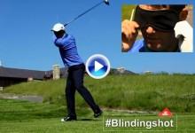 El más difícil todavía: Harrington realizó un brutal Happy Gilmore con los ojos vendados (VÍDEO)