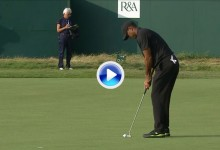 Este tenso putt en el 18 desde casi tres metros evitó que Tiger Woods se fuera a casa (VÍDEO)