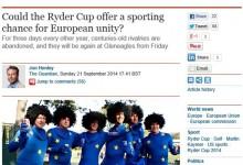 OpenGolf colabora con The Guardian en un artículo sobre el papel de la Ryder en la unidad de Europa