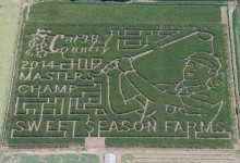 Espectacular laberinto de maíz dedicado a Bubba Watson. El jugador se quedó impresionado