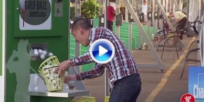 Divertida broma de cámara oculta: Caprichosa máquina de bolas sorprende a golfistas (VÍDEO)