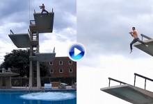 Mira al nuevo entrenador de Tiger saltando desde un trampolín completamente vestido (VÍDEO)