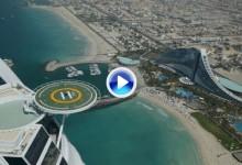 Cheyenne Woods imitó el golpe de su tío Tiger desde lo alto (321m.) del lujoso Burj Al Arab (VÍDEO)