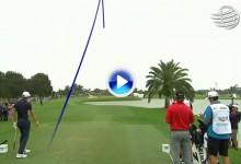 El golpe del día para el campeón Dustin Johnson. Se quedó a pocos centímetros del hoyo en uno (VÍDEO)