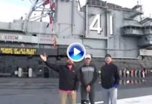 ¡Boom! Trick Shots desde un portaaviones, el último invento de Dude Perfect y Sadlowski (VÍDEO)
