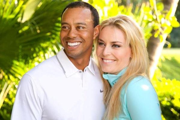 Tiger Woods y Lindsey Vonn en una foto de archivo