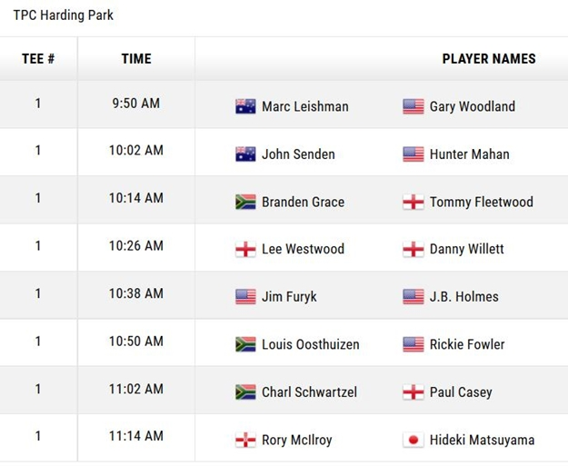 Cadillac Match Play Tee Times 4