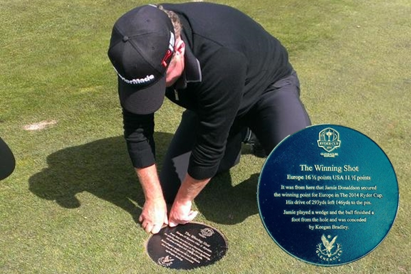Jamie Donaldson, homenajeado en Gleneagles por dar a Europa el último punto en la Ryder Cup '14