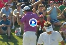 Grandísimo putt para birdie de Rory… ¡Sabbbatini! El sudafricano se marcó un baile en el 17 (VÍDEO)