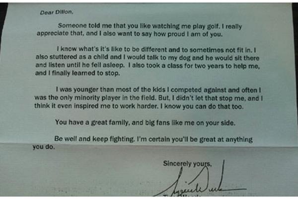 Tiger Woods. Letter: Golf Digest