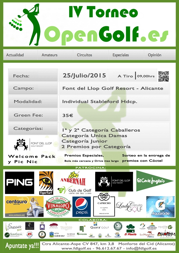 IV Torneo OPENGOLF 2015 Cartel 600
