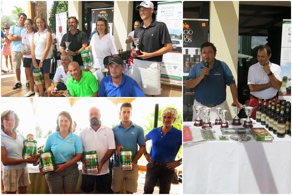 Ganadores en La Sella (arriba) y Oliva Nova (abajo). Carlos Marín (CM Golf) y Carlos García gerente de La Sella (derecha)