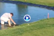 ¿Vale la pena asumir ciertos riesgos por un golpe? Este golfista cayó al lago por no droparse (VÍDEO)