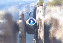 Un golfista se sube al Kjeragbolten (1Km de altitud) para hacer un Trick Shot sobre el abismo (VÍDEO)
