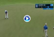 Jon Rahm no se puso nervioso ante este putt, salvó el par desde 10mts. en el 17 de El Camaleón (VÍDEO)