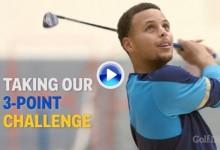 ¡Stephen Curry las enchufa hasta con el palo de golf! El base NBA dio un clínic de puntería (VÍDEO)