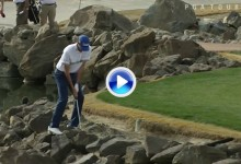 Golf'n the rocks: Hadley intentó el golpe imposible, llevar la bola a green de entre las rocas (VÍDEO)