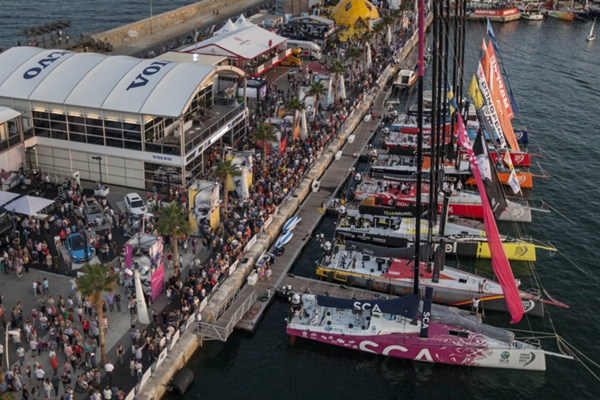 October 09, 2014. A crowd in the Race Village in Alicante, two days before the start of the Volvo Ocean Race.