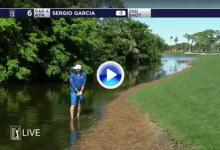 Sergio se metió dentro del agua para sacar la bola. 'Estaba más preocupado por los cocodrilos' (VÍDEO)