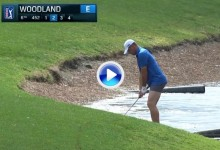 Gary Woodland se quedó en calzoncillos para jugar su bola desde dentro del agua (VÍDEO)
