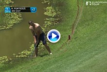La aventura acuática de Porteous. Dio dos golpes desde el hazard, uno de cal, otro de arena (VÍDEO)