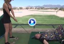 Paige Spiranac, la Kournikova del golf, se atrevió con el Trick Shot de moda (VÍDEO a cámara lenta)