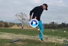 Schjoelberg, el golfista de la rotonda, realiza un espectacular Happy Gilmore futbolero (VÍDEO)