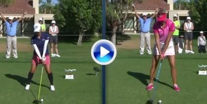 Vea la comparativa entre el swing de Thompson -1,83 altura- y Ai Miyazato -1,57- ¡¡BRUTAL!! (VÍDEO)