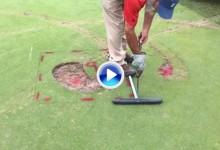 Mucho trabajo por delante: Así se repara el green destrozado por unos vándalos en Houston (VÍDEO)