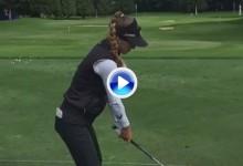 Belén Mozo entrena el driver con los ojos vendados tras perder el corte en el segundo Grande (VÍDEO)