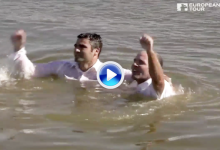 La celebración más tonta: Thomas Levet se rompió una pierna saltando al lago del hoyo 18 (VÍDEO)