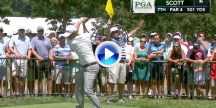 ¡¡Booooommm!! Adam Scott lanzó un misil de 345 yardas en el 7 de Baltusrol Golf Club (VÍDEO)