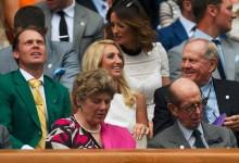Willett lució su Chaqueta Verde en el palco de Wimbledon junto a Nicklaus