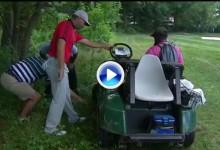 Sergio enterró toda posibilidad de seguir en el PGA con este golpe debajo de un coche en el 8 (VÍDEO)