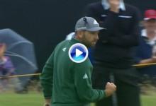 Un enrabietado Sergio García sacó el puño tras embocar este super putt en el 14 (VÍDEO)