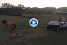 Así de duro entrena la joven balear Nuria Iturrioz. Arrastra coches de golf atados a la cintura (VÍDEO)