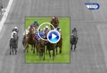 ¡¡Por los pelos!! Un jinete estuvo a punto de recibir un bolazo durante una carrera de caballos (VÍDEO)