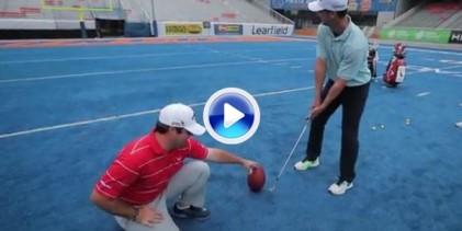 Alucinante lo de Rick Lamb. Metió una pelota de fútbol americano entre palos con un hierro (VÍDEO)