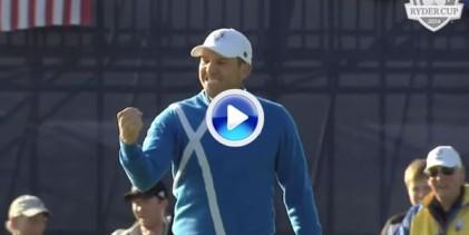 Este golpazo de Sergio desde la arena en la Ryder de Gleneagles se queda para la historia (VÍDEO)