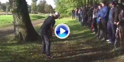 Golpazo de recuperación de Noren. El sueco jugó la bola detrás de un árbol y la llevó a green (VÍDEO)