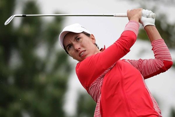 Carlota Ciganda durante la ronda final del LPGA Keb Hana Bank Championship. Foto @LPGA