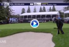 """El Golf es duro: Fallo estrepitoso de """"Lefty"""", apenas movió la bola estando muy cerca de green (VÍDEO)"""