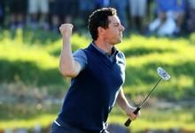 Es la imagen del día, la de un Rory enrabietado tras anotar el único eagle y el punto para Europa