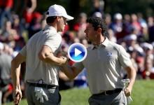 Resumen de la emocionante 2ªJ de la Ryder Cup. Foursomes y Fourballs recopilados en 2′ (VÍDEO)