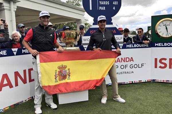 Jon Rahm y Rafa Cabrera Bello representando a España en la última edición de la Copa del Mundo de Golf, celebrada en el mes de Noviembre pasado en Mebourne, Australia. Foto: @WorldCupGolf