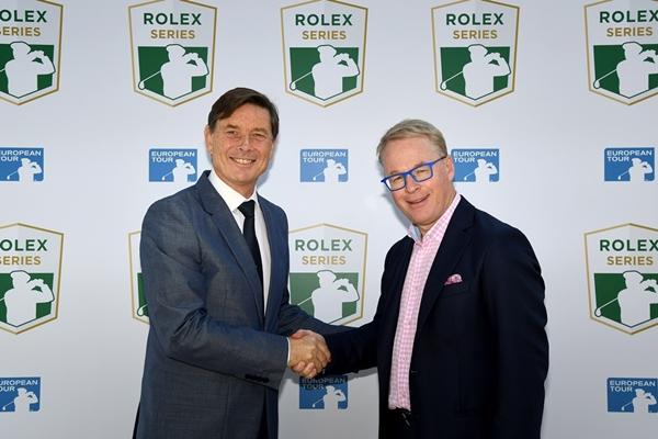 Keith Pelley -derecha- en el anuncio de las Rolex Series. Foto European Tour