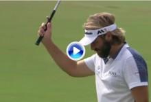 Víctor Dubuisson dio una lección de como controlar el backspin con este eagle en Dubái (VÍDEO)