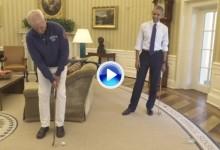 Murray y Obama se enfrentaron en un improvisado concurso de putts en el despacho oval (VÍDEO)